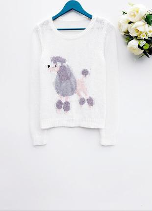 Нежный свитер красивый молочный свитер с пуделем