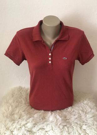 Оригинальная женская футболка поло lacoste. размер м
