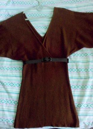Элегантное и стильное коричневое платье-туника летучая мышь от...