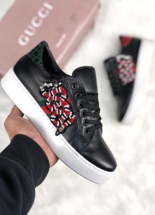 Стильные женские кроссовки gucci чёрные