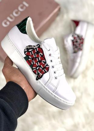 Отличные женские кроссовки gucci белые