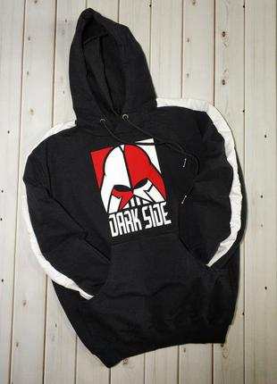 Мужская кофта худи с лампасами,толстовка с логотипом dark side...