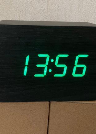 Часы настольные электронные 009 в виде деревянного бруска