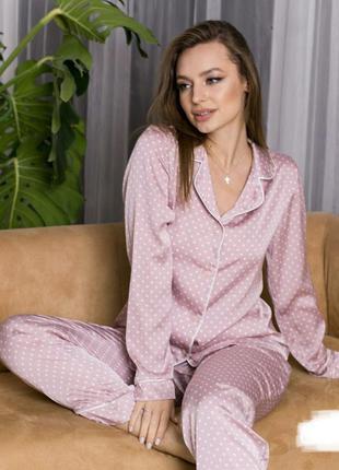 Пижама шелковая с кантом в горошек рубашка и брюки