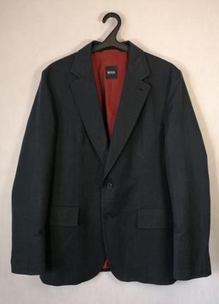 Пиджак hugo boss темно-синего цвета l хлопок лен loro brioni a...