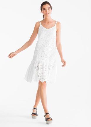 Белое воздушное хлопковое кружевное платье сарафан на бретельках