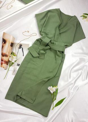 Платье - кимоно - халат цвета хаки