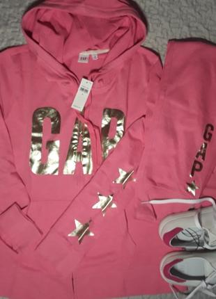 Брендовый супер классный прогулочный костюм gap розовый с лого