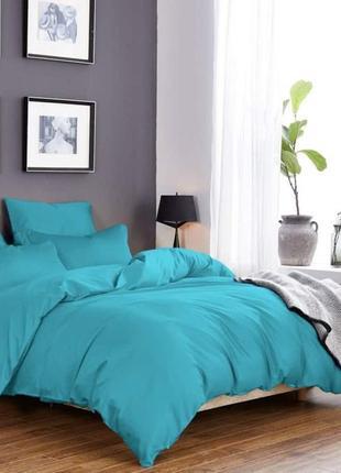Комплект сатинового постельного белья бирюзового цвета, все ра...