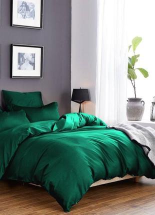 Комплект сатинового постельного белья изумрудного цвета, все р...