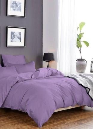 Комплект сатинового постельного белья сиреневого цвета, все ра...