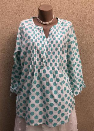 Блуза,рубаха в горохи,хлопок,большой размер,этно,бохо стиль