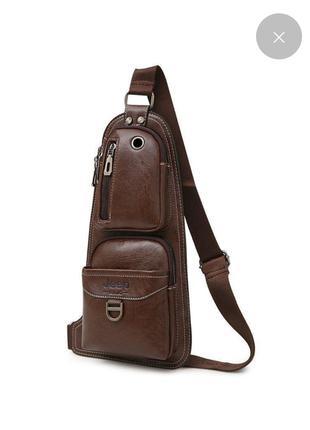 Сумка-рюкзак на одно  плече, кобура , слинг JEEР коричневая