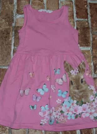 Платье сарафан с кроликом нм 2-4 года