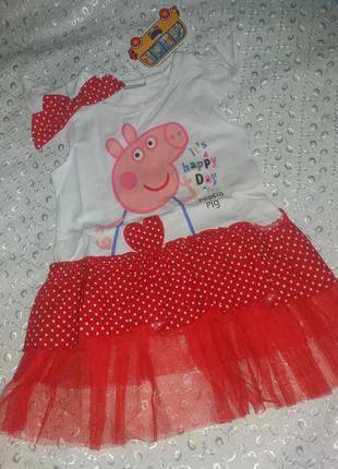 Платье на девочку пеппа 1-2г