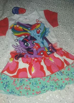 Туничка -платье на девочку пони 1-3г