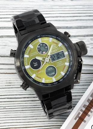 Часы наручные amst 3022 black-green metall
