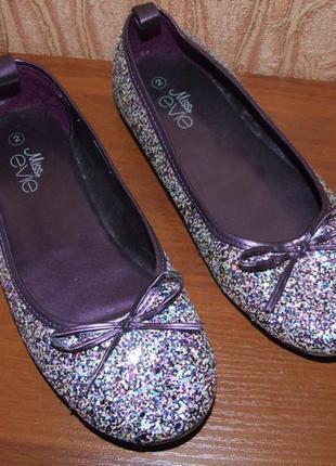 Нарядные туфли балетки девочке мисс евиа 2 размер 22см стелька