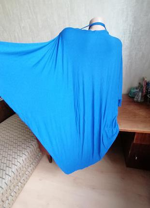 Синий длинный летний кардиган без рукавов франция (к003)