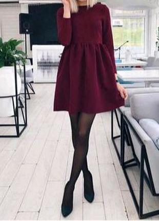 Весеннее платье бордового цвета, цвета марсала