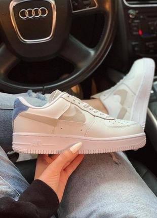 Женские кожаные кроссовки nike air force white red blue ✰ бело...