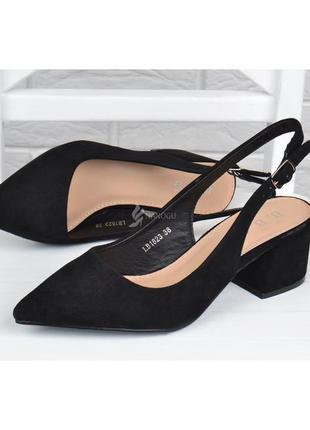 Шикарные женские туфли лодочки на каблуке diva черные велюр