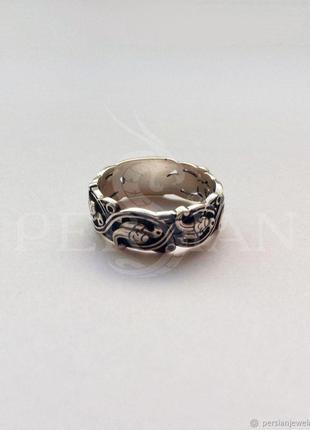 Кольцо Спаси и сохрани, серебро с золотом, венчание, оберег. Пода