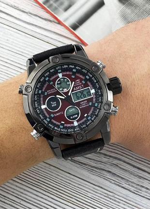 Часы наручные amst 3022 black-red fluted wristband