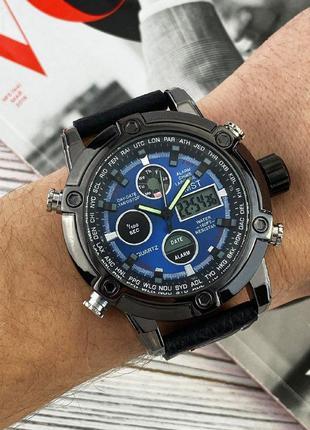 Часы наручные amst 3022 black-blue fluted wristband