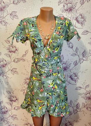 Платье на запах uttam london с птичками птицами