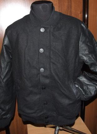 Куртка бомбер обманка с  кожаными рукавами 10- 11 лет