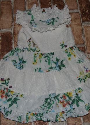 Платье хлопковое 1-2 года пышно нарядно