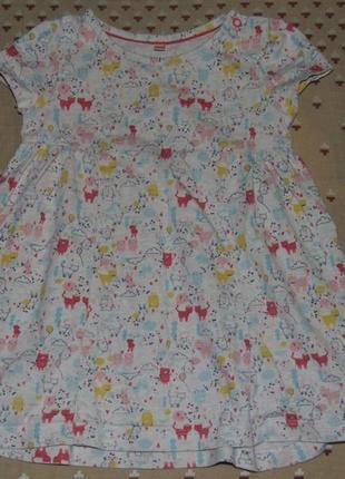 Хлопковое платье туника 9-12 мес