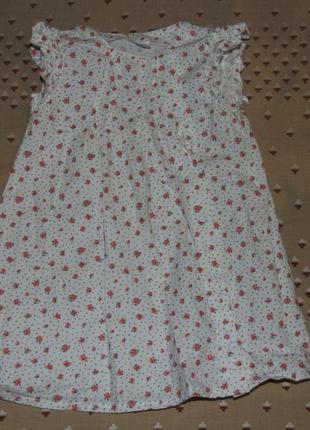 Хлопковое платье туника 12-18 мес