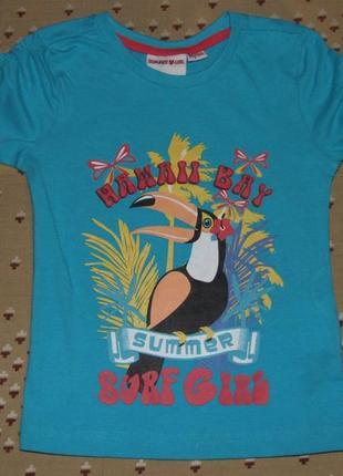 Хлопковая  девочке сток футболка 3 - 4 года