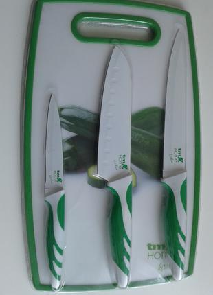 Набор зеленые ножи белая керамика 3 шт + доска