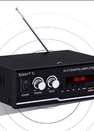 Усилитель c bluetooth Kinter T2 ресивер блютуз FM радио мощности