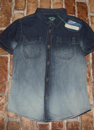 Новая хлопковая джинс рубашка 4-8 лет тениска