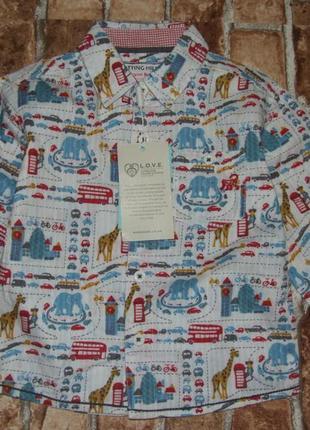 Новая хлопковая рубашка 12-18 мес monsoon
