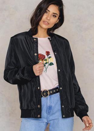 Na-kd женская куртка ветровка бомбер черного цвета размер s