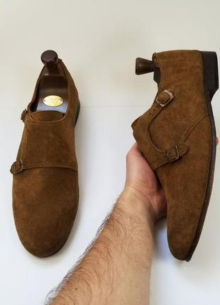 Hudson made in portugal мужские туфли монки натуральный замш т...