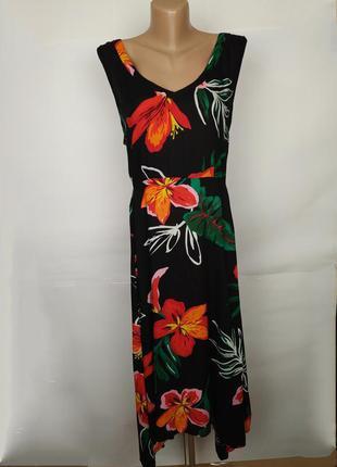 Платье натуральное цветочное красивое большой размер uk 20/48/3xl