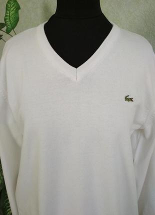 Белый нарядный пуловер lacoste. 100%cotton.