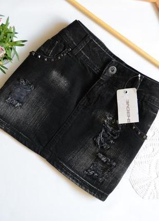 Юбка джинсова актуальна fishbone з потертостями