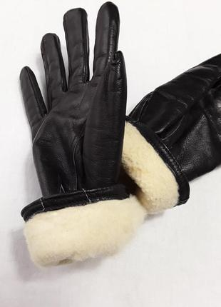Шикарные кожаные зимние перчатки на овчине