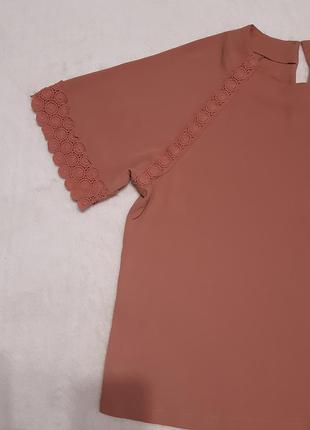 Тёмно терракотовая блуза с кружевом размер 16 marks & spencer