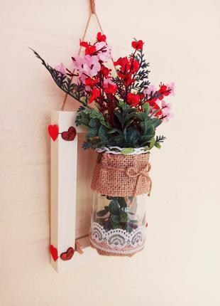 Настенная подвеска. Искусственные цветы. Декор. Интерьер