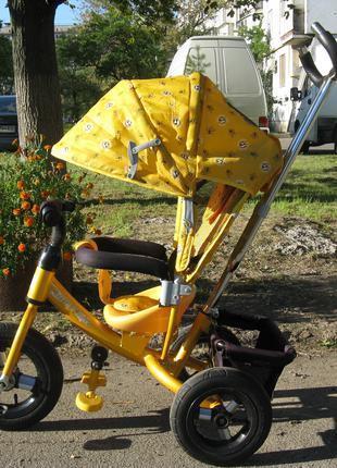 Велосипед детский трехколесный со съемной ручкой желтый