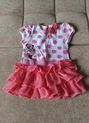 Нежное розовое платье мини маус, 9-12месяцев
