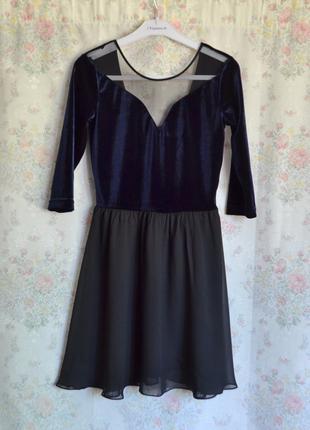 Утонченное вечернее платье h&m велюр шифон